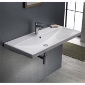 Bathroom Sink Rectangle White Ceramic Wall Mounted or Self Rimming Sink CeraStyle 032400-U