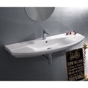 Bathroom Sink Rectangle White Ceramic Wall Mounted or Self Rimming Sink CeraStyle 032800-U