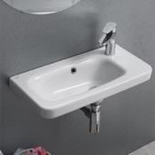Bathroom Sink Rectangular White Ceramic Wall Mounted or Drop In Sink CeraStyle 033000-U