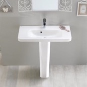 Bathroom Sink Rectangular White Ceramic Pedestal Sink CeraStyle 033300U-PED