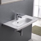 Bathroom Sink Rectangle White Ceramic Wall Mounted Sink or Drop In Sink CeraStyle 033300-U