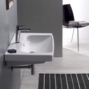 Bathroom Sink Rectangle White Ceramic Wall Mounted or Self Rimming Sink CeraStyle 034100-U
