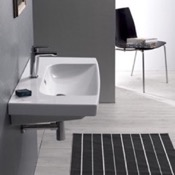 Bathroom Sink Rectangle White Ceramic Wall Mounted or Drop In Sink CeraStyle 034400-U