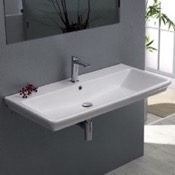 Bathroom Sink Rectangle White Ceramic Wall Mounted or Drop In Sink CeraStyle 040300-U