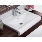 Bathroom Sink Rectangle White Ceramic Wall Mounted or Semi Recessed Sink CeraStyle 061500-U