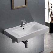 Bathroom Sink Rectangular White Ceramic Wall Mounted or Drop In Sink CeraStyle 064400-U