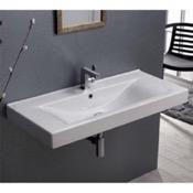 Bathroom Sink Rectangular White Ceramic Wall Mounted or Drop In Sink CeraStyle 064600-U