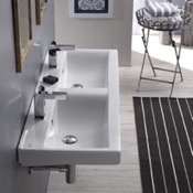 Bathroom Sink Rectangular Double White Ceramic Wall Mounted or Drop In Sink CeraStyle 064700-U