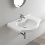 Bathroom Sink Rectangular White Ceramic Wall Mounted or Drop In Sink CeraStyle 066100-U