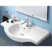 Bathroom Sink Rectangular White Ceramic Wall Mounted or Drop In Sink CeraStyle 066500-U