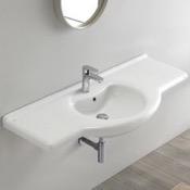 Bathroom Sink Rectangular White Ceramic Wall Mounted or Drop In Bathroom Sink CeraStyle 066700-U