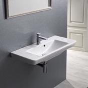 Bathroom Sink Rectangular White Ceramic Wall Mounted or Drop In Sink CeraStyle 068300-U