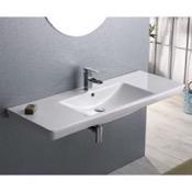 Bathroom Sink Rectangular White Ceramic Wall Mounted or Drop In Bathroom Sink CeraStyle 068500-U