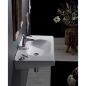 Bathroom Sink Rectangle White Ceramic Wall Mounted Sink or Drop In Sink CeraStyle 069000-U