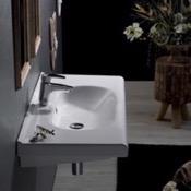 Bathroom Sink Rectangle White Ceramic Wall Mounted Sink or Drop In Sink CeraStyle 069100-U