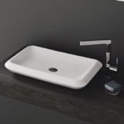 Bathroom Sink Rectangle White Ceramic Vessel Sink CeraStyle 075700-U