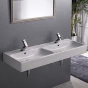 Bathroom Sink Double Rectangular Ceramic Wall Mounted or Vessel Sink CeraStyle 080700-U