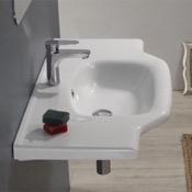 Bathroom Sink Rectangular White Ceramic Wall Mounted or Drop In Bathroom Sink CeraStyle 081200-U