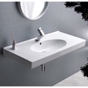 Bathroom Sink Rectangle White Ceramic Wall Mounted or Drop In Sink CeraStyle 084400-U
