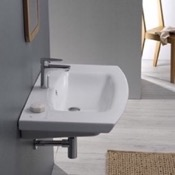 Bathroom Sink Rectangle White Ceramic Wall Mounted or Drop In Sink CeraStyle 090100-U