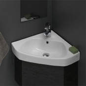 Bathroom Sink Corner White Ceramic Drop In or Wall Mounted Bathroom Sink CeraStyle 001900-U