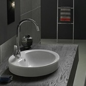 Bathroom Sink Round White Ceramic Drop In or Vessel Bathroom Sink CeraStyle 074000-U