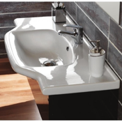 Bathroom Sink Rectangular White Ceramic Wall Mounted or Self-Rimming Bathroom Sink CeraStyle 081200-U