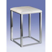 Bathroom Stool Bathroom Stool with White Leather Top 40300 Windisch 40300