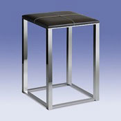 Bathroom Stool Chrome Bathroom Stool with Brown Leather Top 40310 Windisch 40310
