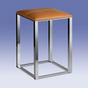 Bathroom Stool Chrome Bathroom Stool with Natural Leather Top 40320 Windisch 40320