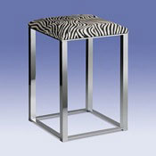 Bathroom Stool Chrome Bathroom Stool with Zebra Leather Top 40330 Windisch 40330