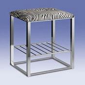Bathroom Stool Chrome Bathroom Stool with Zebra Leather Top and Shelf 40336 Windisch 40336