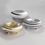 Soap Dish Round Contemporary Chrome And Gold Countertop Soap Dish Windisch 93106D