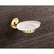 Soap Dish Wall Mounted Frosted Glass Soap Holder With Gold Mounting Gedy 3311-87