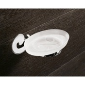 Soap Dish Wall Mounted Frosted Glass Soap Holder With Chrome Mounting Gedy 3311-13