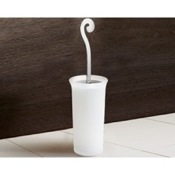 Toilet Brush Round Frosted Glass Toilet Brush Holder With Chrome Handle Gedy 3333-13
