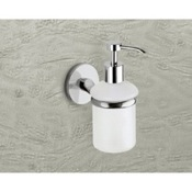 Soap Dispenser Wall Mounted Frosted Glass Soap Dispenser With Chrome Mounting Gedy 4281-13