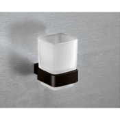 Toothbrush Holder Wall Mounted Frosted Glass Toothbrush Holder With Matte Black Mounting Gedy 5410-M4