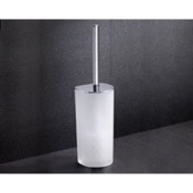 Toilet Brush Frosted Glass Toilet Brush Holder With Chrome Base Gedy 5533-13