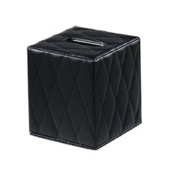 Tissue Box Cover Black Square Faux Leather Tissue Box Cover Gedy 5902-55