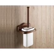 Toilet Brush Wall Mounted Porcelain Toilet Brush Holder With Wood Mount Gedy 8133-03-95
