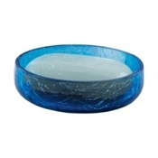 Soap Dish Round Blue Crackled Glass Soap Dish Gedy GI11-11