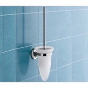 Toilet Brush Wall Mounted Cone Shaped Frosted Glass Toilet Brush Holder Gedy 3033-03-13