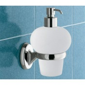 Soap Dispenser Wall Mounted Bubble Shaped Glass Soap Dispenser with Chrome Mounting Gedy 3081-13