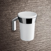 Toothbrush Holder Wall Mounted Round Glossy White Pottery Toothbrush Holder With Chrome Mounting Gedy 3510-02
