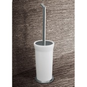 Toilet Brush Round White Glass Toilet Brush Holder With Chrome Base Gedy 3533-02
