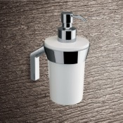 Soap Dispenser Wall Mounted Round Glossy White Glass Soap Dispenser Gedy 3581-02