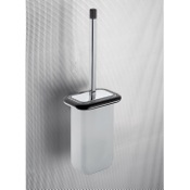 Toilet Brush Wall Mounted Frosted Glass Toilet Brush Holder With Wenge Wood Frame Gedy 4333-03-19