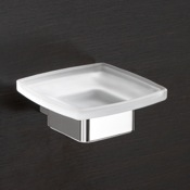 Soap Dish Wall Mounted Frosted Glass Soap Dish With Chrome Base Gedy 5411-13