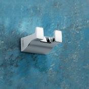 Bathroom Hook Square Polished Chrome Double Hook Gedy 5726-13